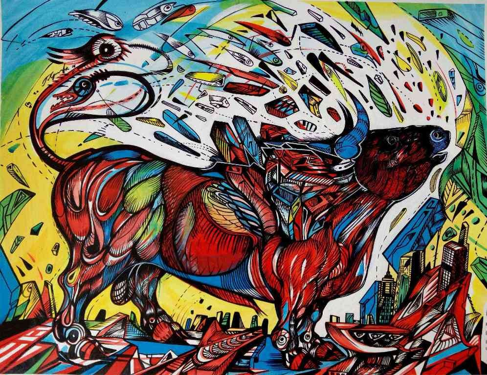 This is a painting of a red bull