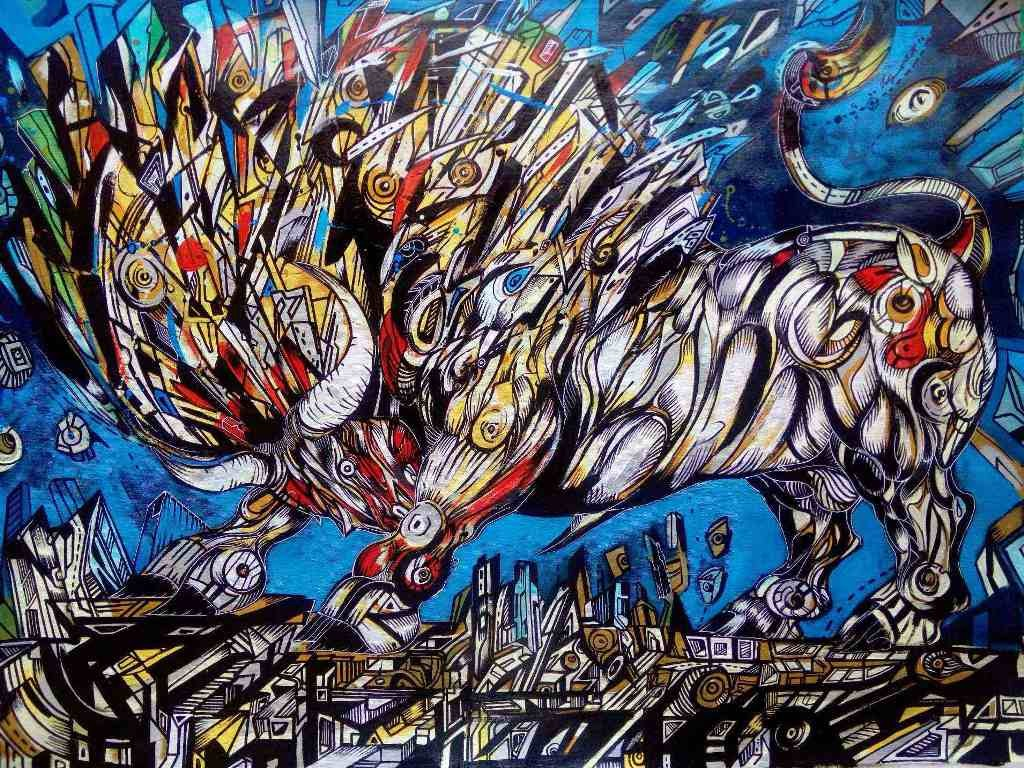 Gigant 2 is a painting of a bull in rage