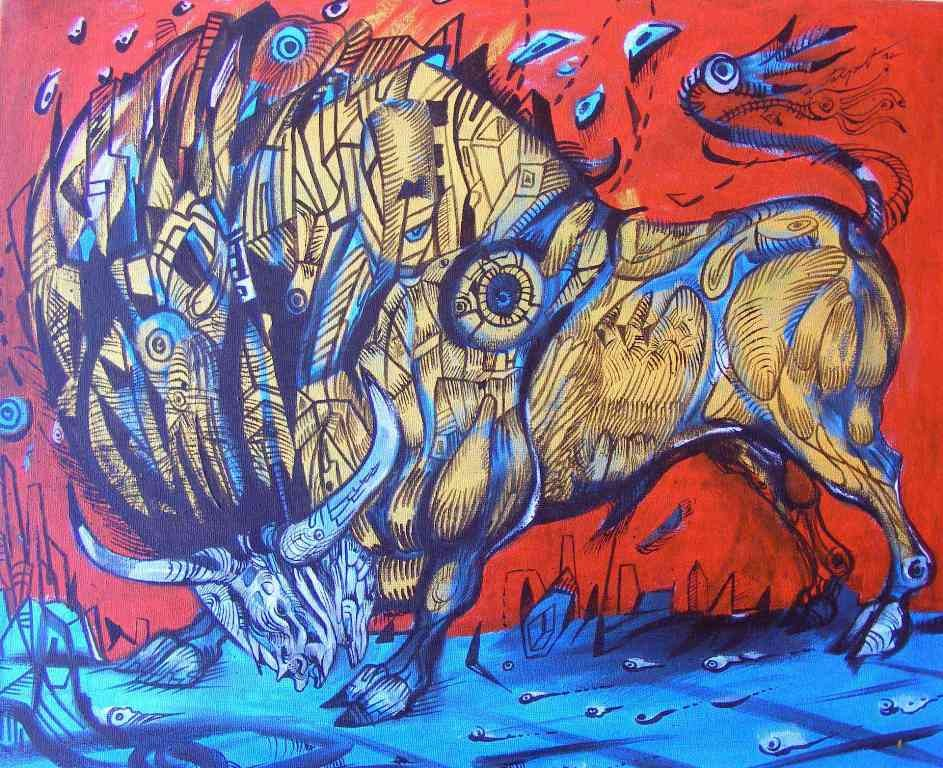 Golden blue is a bull painting on canvas