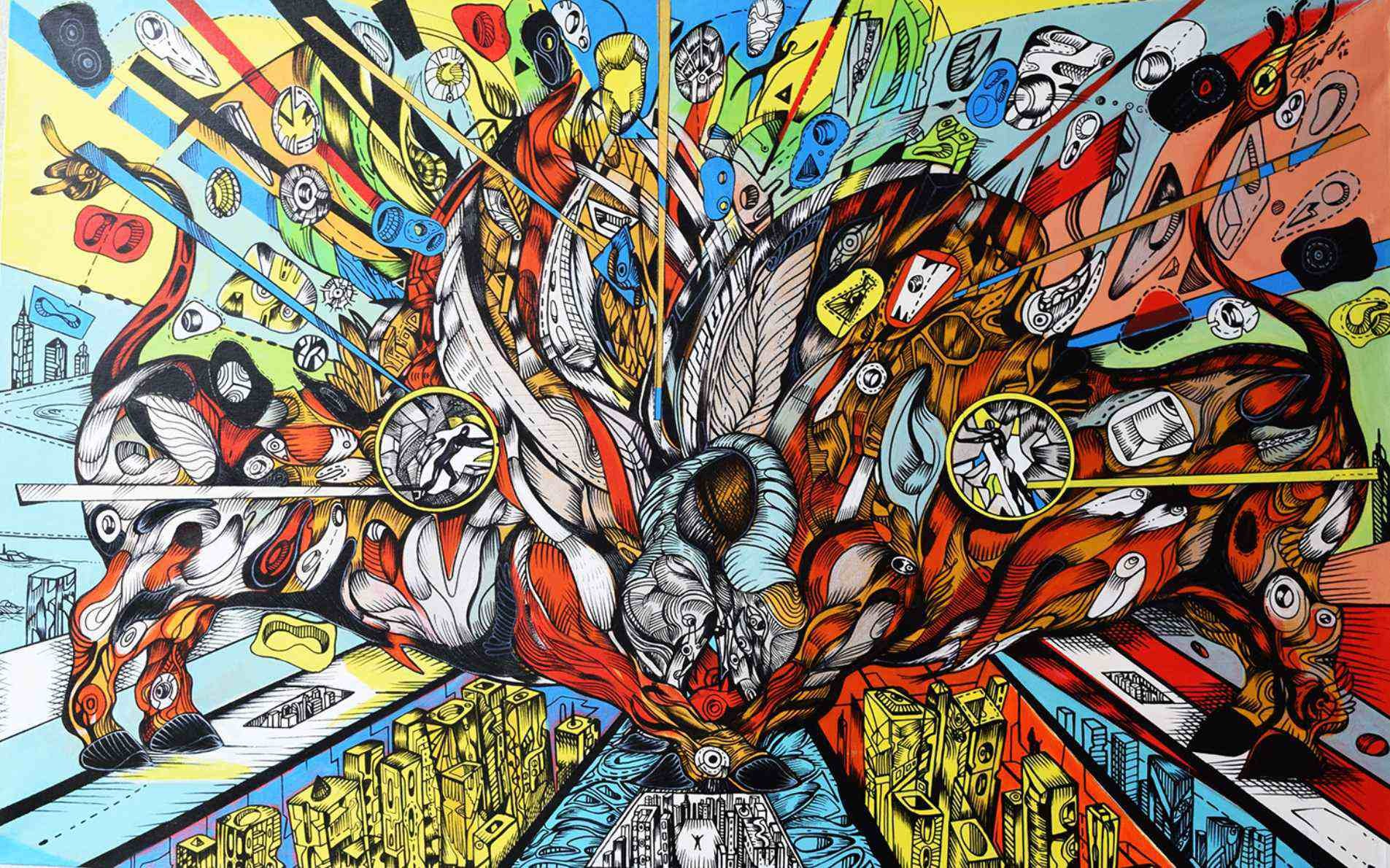 Initially is one of the bullfight paintings by Marko Gavrilovic