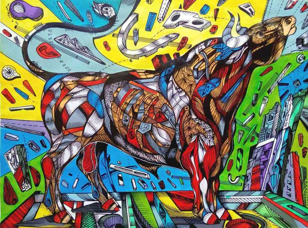 Momentum is a painting of a Spanish bull.
