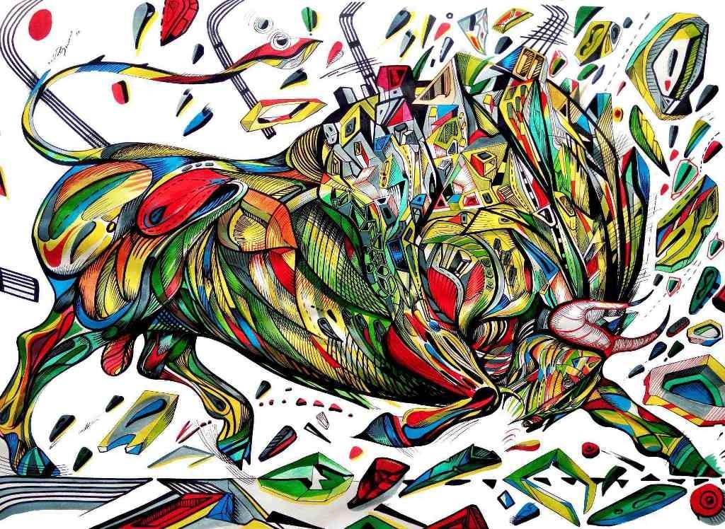 Bull painting made by artist marko gavrilovic