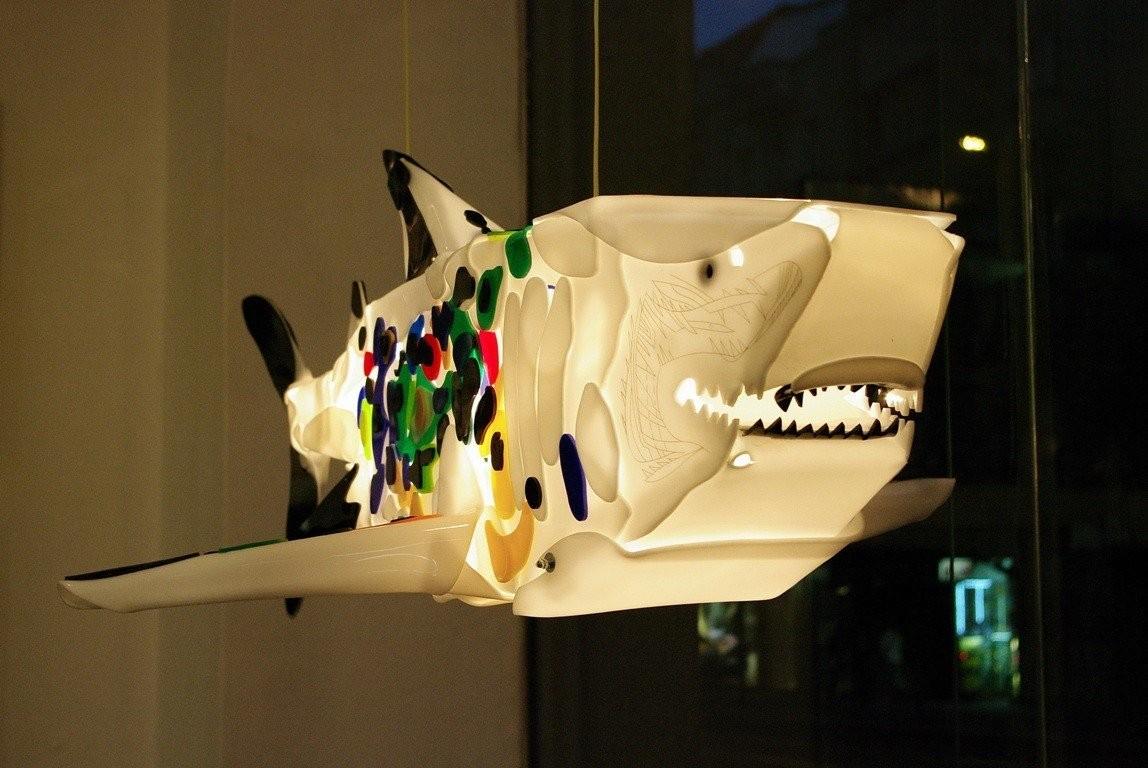 Sailer of the Future represents shark sculpture made of plastic.