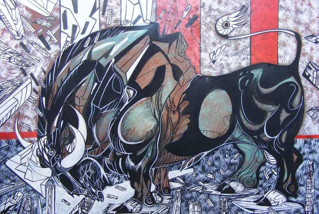 Bull painting called samurai bull.