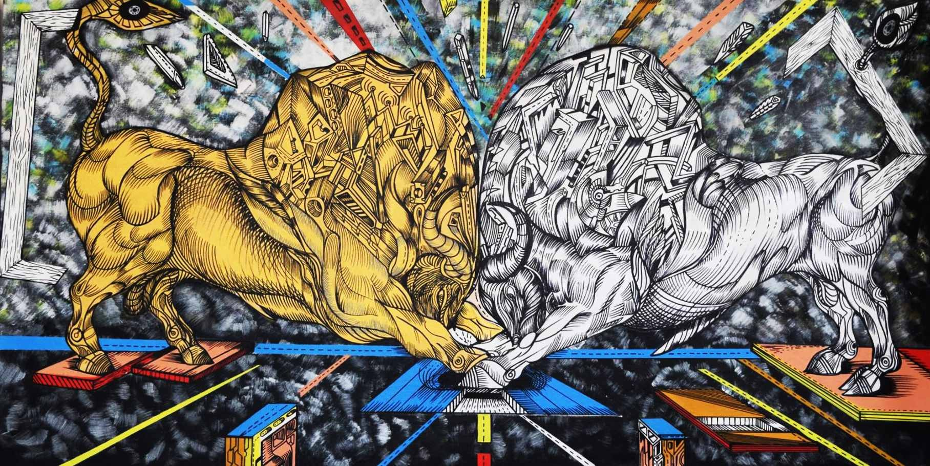 Silver versus Gold is a bullfight painting in acrylic.
