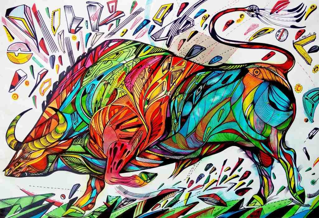 swamp buffalo is a bull painting on a paper