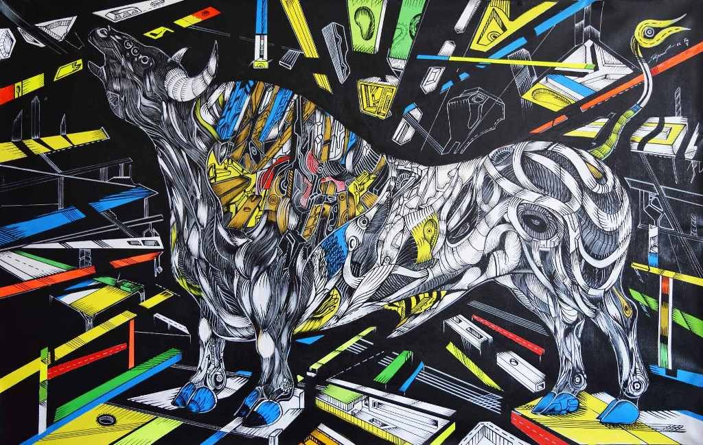 The Hero is a bull painting with abstract details