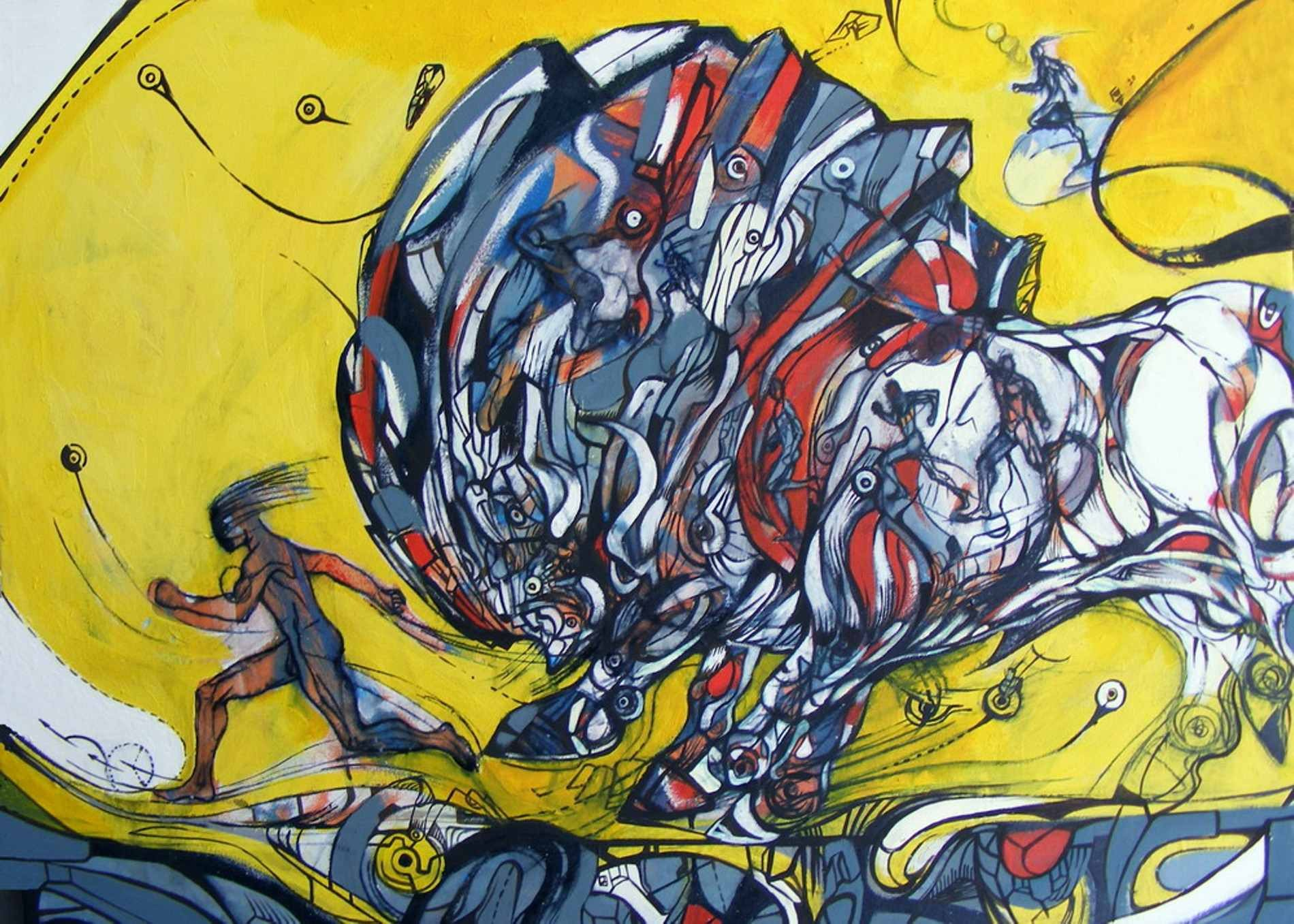 The unbeatable runner is a painting of a white runner chased by a big white bull.