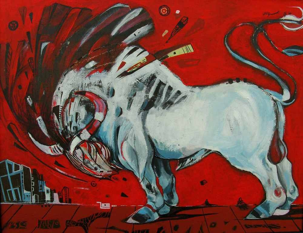 White bull on a red background