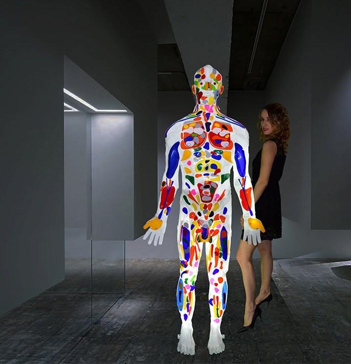 Ivana Ivka with a light sculpture Enlightened man