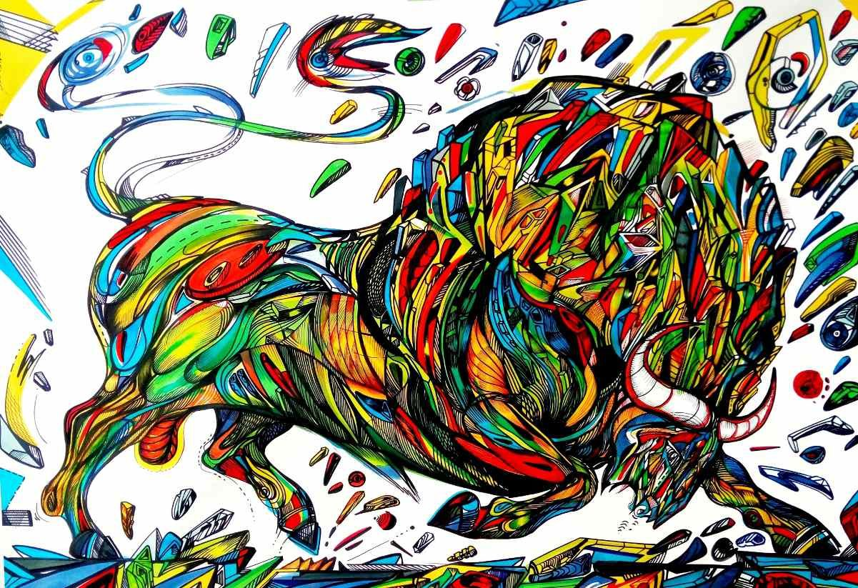 Colorful bull painting