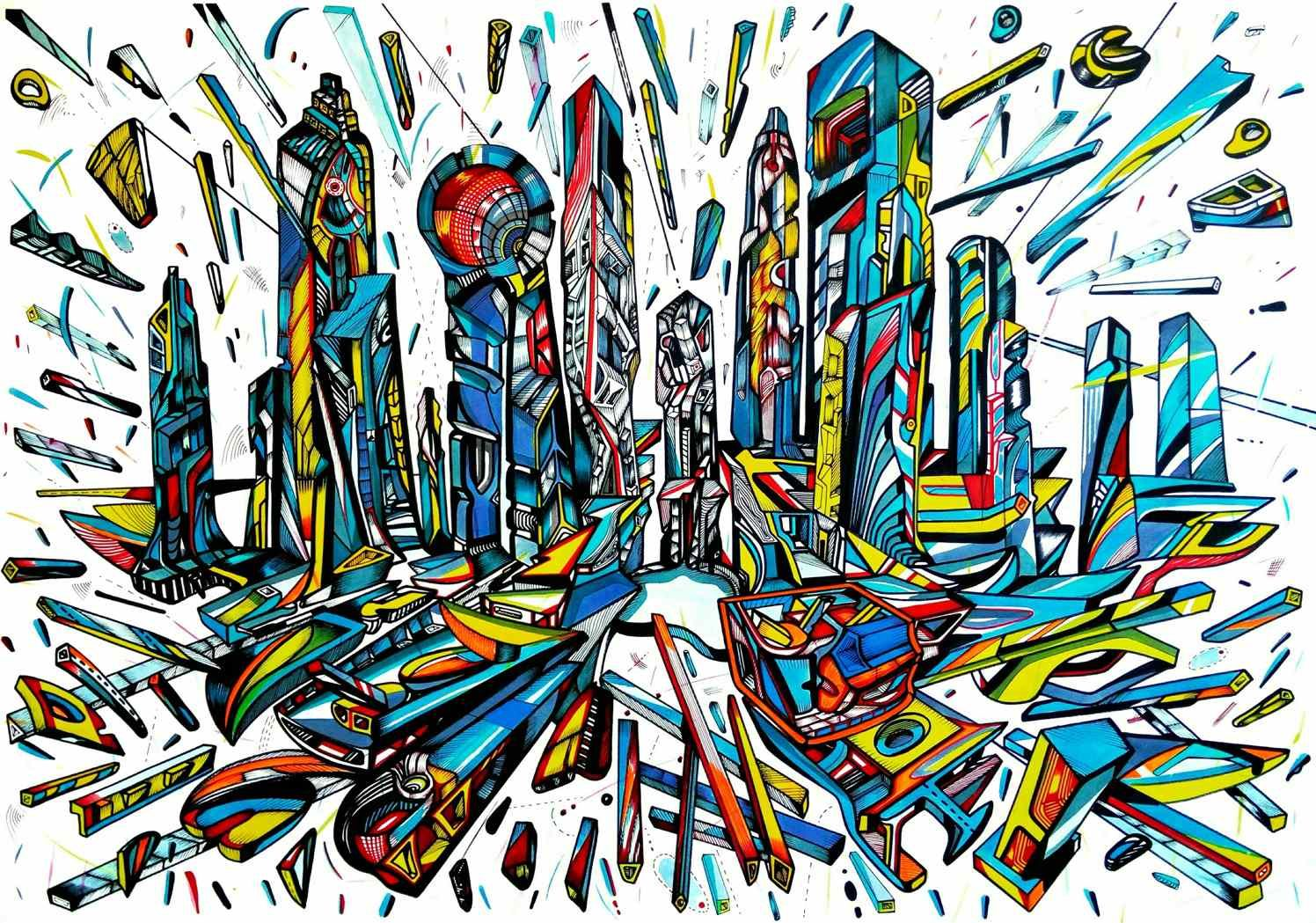 Blue city is on the move, acrylic and ink on paper, artist Marko Gavrilovic