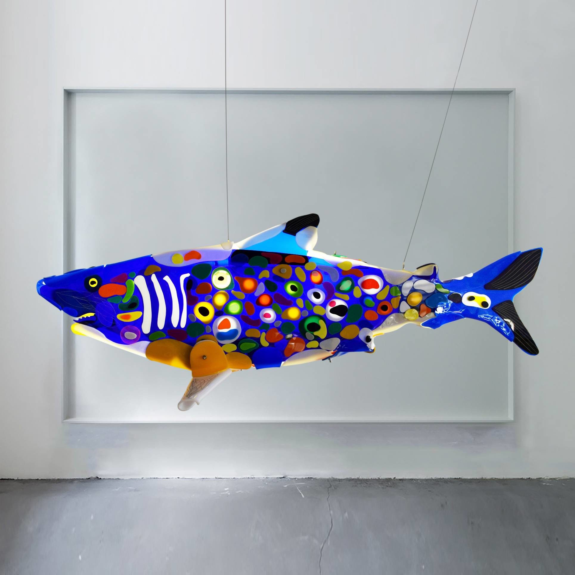 shark sculpture blue renegade by marko gavrilovic, sculptoroflight