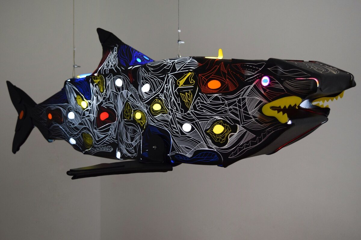 primal shark, black shark, light sculpture