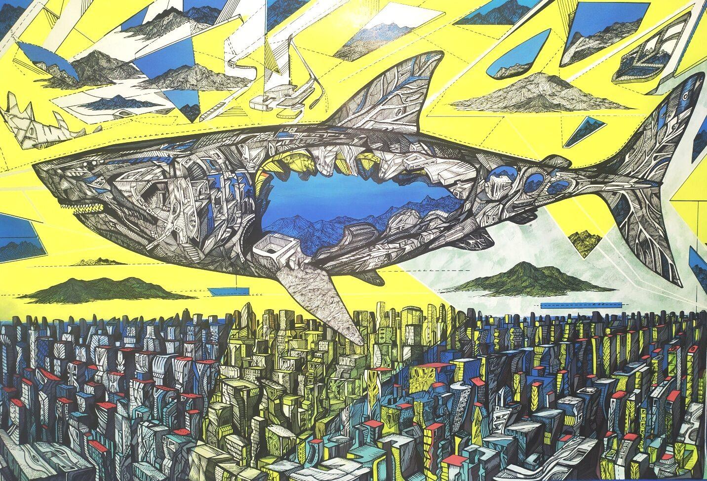 The Endless sea inside, 104 x 153 x 4 cm, acrylic on canvas, 2020 by Marko Gavrilovic